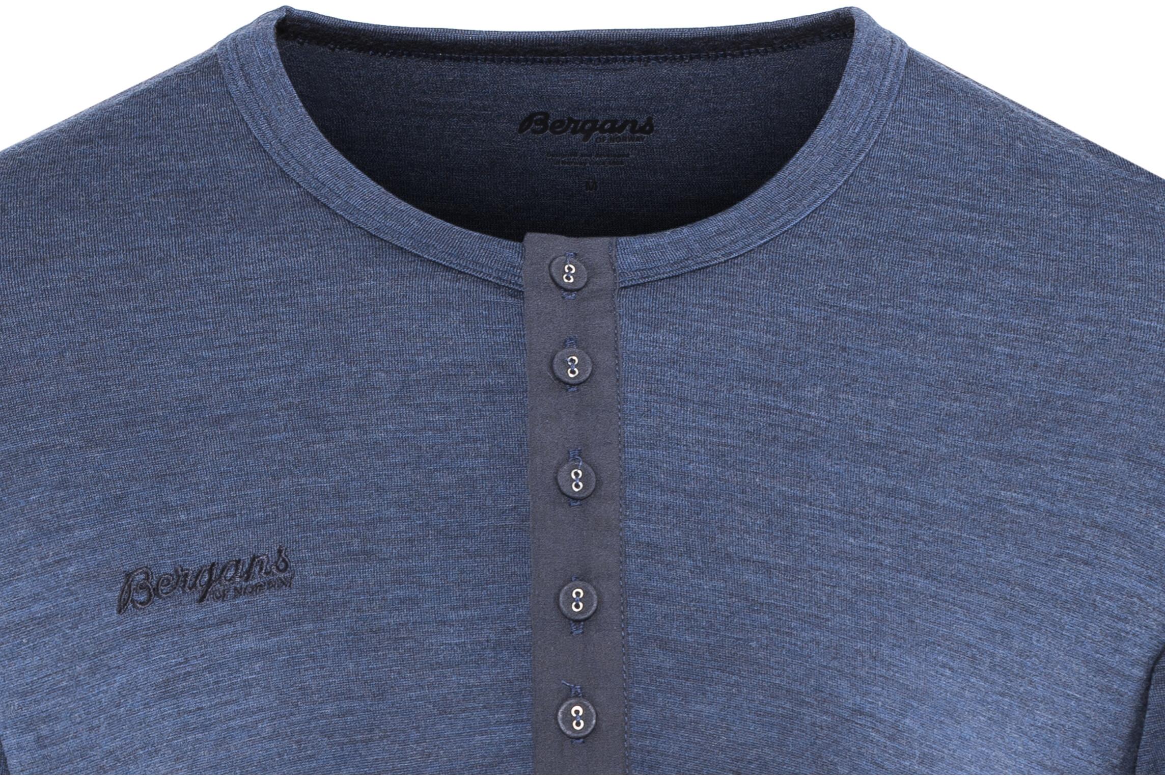 db7ea0218baf6 Bergans Henley Wool Shirt Men Navy Melange